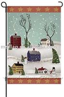 Garden Flag-Snowman village