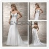 White Sheath V-neck Chiffon Floor-length Wedding Dress with Beading