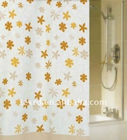Polyester Flower Printed Shower Curtain