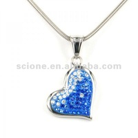 Rhinestone heart pendant turquoise stone necklace heart shape pendant fashion jewelry pendant alloy pendant