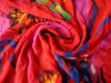 Hand painted silk satin fabric for dress
