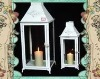 White Metal Candle Lantern by Set Hurricane Lamp