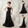 Lastest Sweetheart Ruffles A-line Beaded Floor Length Black Evening Dresses xyy04-200
