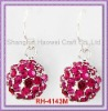 RH-4143M Pave Ball Fish Hook Earring With Fuchsia Rhinestone