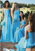 Floor length Blue maid of honor dress