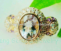 Fashion Gold Jewelry: 10KY gold ring with gemstone SR4159