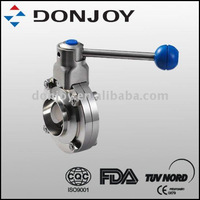 sanitary stainless steel butterfly valve with welded end