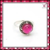Trendy eyecatching pink gemstone ring,silver ring