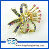 Wedding Jewelry Gold Plated Flower Crystal Brooch Pin
