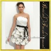 Hot Sale Taffeta Tiered Strapless Ruffled Embroidered Black And White Cocktail Dress