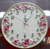 2012 Best selling home and house pansy wall clock decorative wall clock best gift and craft for friend