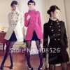 Women's Classic Double buckle Trench Jacket Military Coat Stand Collar