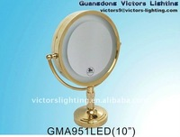 Table standing mirror with light