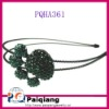 Dark green crystal paw headband