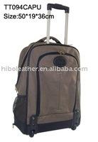 Dark coffee Canvas Trolley luggage bag with breces