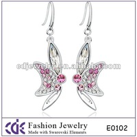 pave fashion crystal big fashion butterfly shapes drop earring