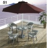 Rattan leisure table + chair with hole