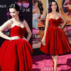 Cute Ball Gown Sweetheart Tea Length Party/Evening Red Velvet Dresses