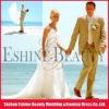 Custom made applique tulle cap sleeve beach wedding dress match purple satin halter evening dress