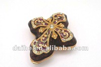 burgundy cross accent crafts,inlay clear crystal jewelry box DH-GR0004