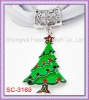 SC-3169 Silver Tone Christmas Tree Scarf Accessory With Brown & Green Enamel Red & Green Rhinestone