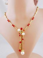 Delicate Imitation Pearl Rhinestone Necklace Set