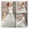 White Sweetheart Ball Gown Organza Ruffle Floor-length Wedding Dress with Lace Belt