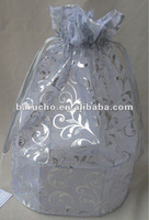Silver Wire Basket with Silver Organza Soft Top