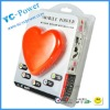 Standard USB output fashion wireless mobile battery 5000mah Heart Shape