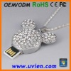 Crystal Mouse Necklace USB Flash Drive