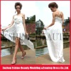 Customized white taffeta one shoulder front short and long back bridesmaid dresses