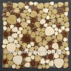 POP001 heart shaped art pattern porcelain pebble tile mix color white cream coffee porcelain pebble tile