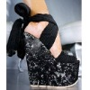 Pretty Steps 2012 Guangzhou wholesale high quality black open toe women wedge high heels shoes