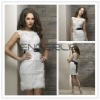 White Sheath Bateau Sleeveless Organza Appliqued Mini Evening Dress with Black Lace Belt