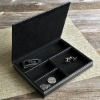 Black Leather Dresser Valet Jewelry Case Coin Box Tray 1799