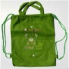 cute green 100g non woven drawstring shoes backpack bag(XY-13088)
