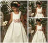 Ivory Satin Ball Gown Floor Length Flower Girls Dress