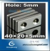 40*20*5mm Strong Block 2 Countersunk Holes 5mm Rare Earth Neodymium Magnet CS-L-042