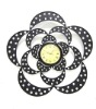 metal flower shape frame wall clock stickers decoration
