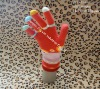 100% acrylic five fingers jacquard magic gloves with long bubble oversleeve