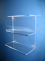 3 tier clear acrylic wall mounted shelf