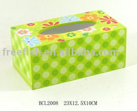 kids flower wooden tissue box