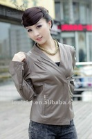 Hot style Lady's Leather Jacket Earth Tone