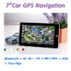 7 Inch Car GPS Navigator with Bluetooth AV-IN, FM, MP3 MP4, 4GB Memory, Free Map