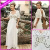 Elegant Long Cheap White Chiffon Scoop Short Sleeves Beaded Embroideried Beach Dresses EG1660