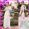Elegant Long Cheap White Chiffon Scoop Short Sleeves Beaded Embroideried Beach Dresses EG1660