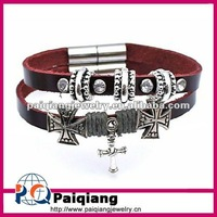 Personalized wrap leather bracelets with Cross Charms
