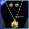 2012 Hot sale baketball jewelry set gold rhinestone jewelry set