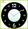 black with white plastic clock quartz decoration wall clock