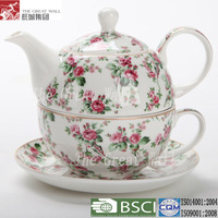 2012 fashion bone china teapot and cup in one set